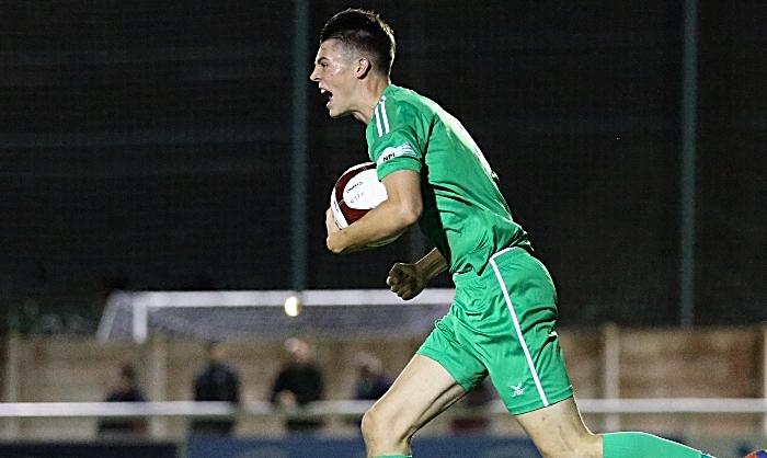Second-half - Nantwich Town goal - Joe Malkin celebrates after scoring (1)