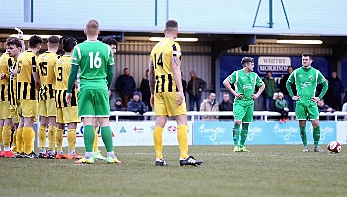 Second-half - Nantwich Town goal - Matt Bell prepares for his free-kick (1)