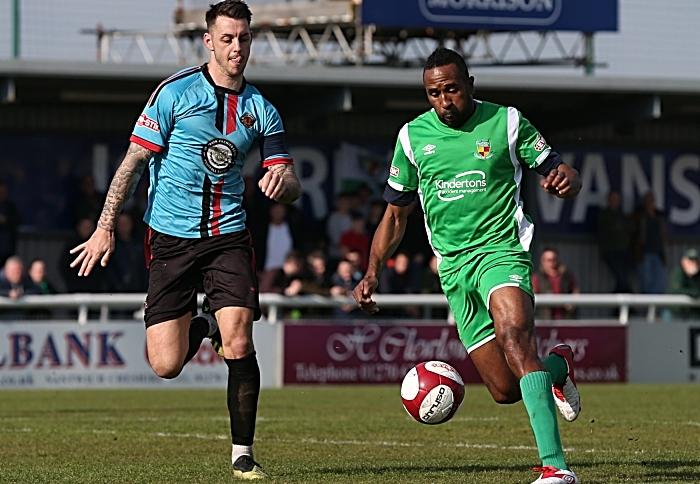 Second-half - Ricardo Fuller on the ball under pressure (1)