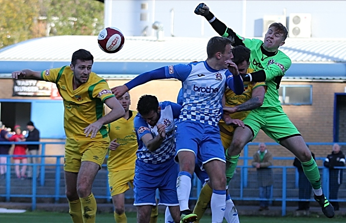 FA Trophy - Second-half action - Stalybridge keeper Aidan Winterbottom clears the ball (1)