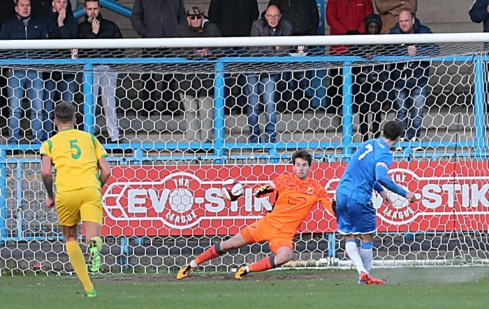 FA Trophy Second-half action - Stalybridge penalty is converted by Scott Bakkor (1)