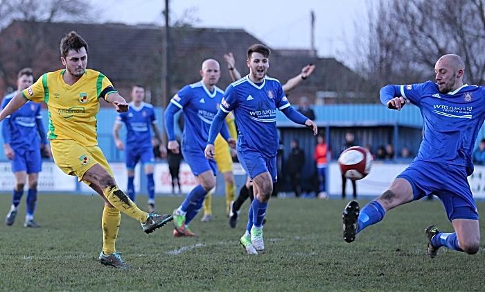 Second-half - captan Caspar Hughes shot at goal