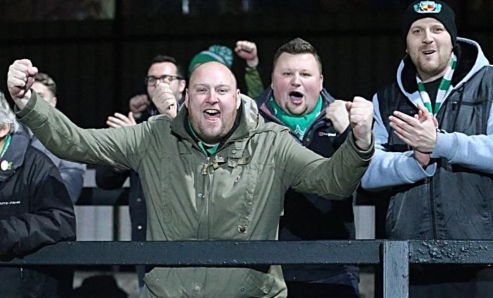 Second-half - fourth Nantwich Town goal - Toby Mullarkey - Dabbers fans celebrate (1)