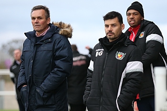 Second-half - l-r - Manager Dave Cooke - Assistant Manager Danny Griggs and Clayton McDonald watch the action