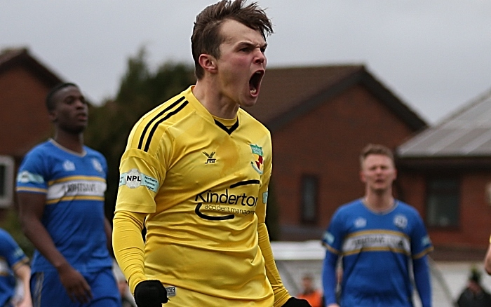 Second-half - penalty - first Nantwich goal - Sean Cooke celebrates his goal (1)