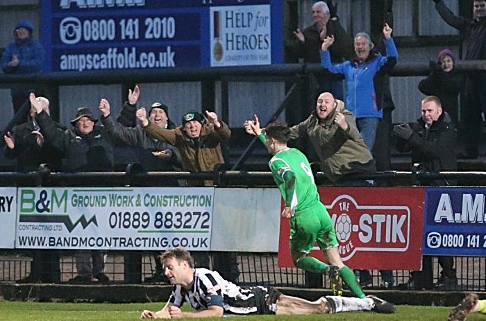 Second-half - second Nantwich Town goal - Joe Malkin celebrates his goal (1)