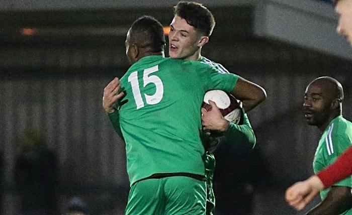 Second-half - second Nantwich Town goal - Joe Malkin celebrates his goal with Ricardo Fuller (1)