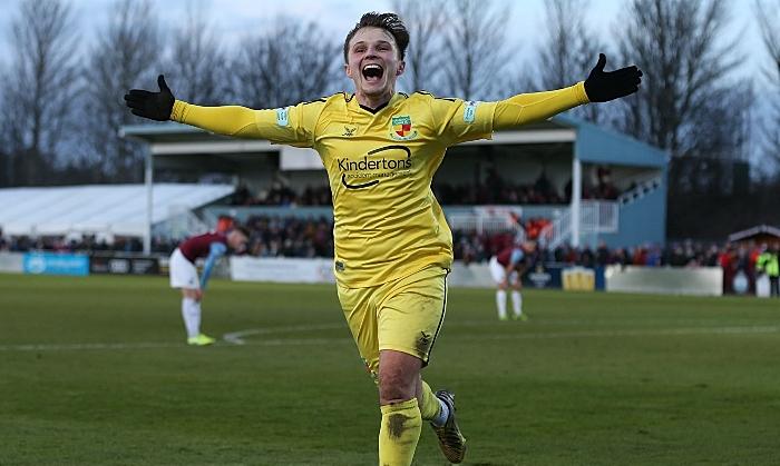 Second-half - second Nantwich Town goal - Sean Cooke celebrates his goal (1) (1)