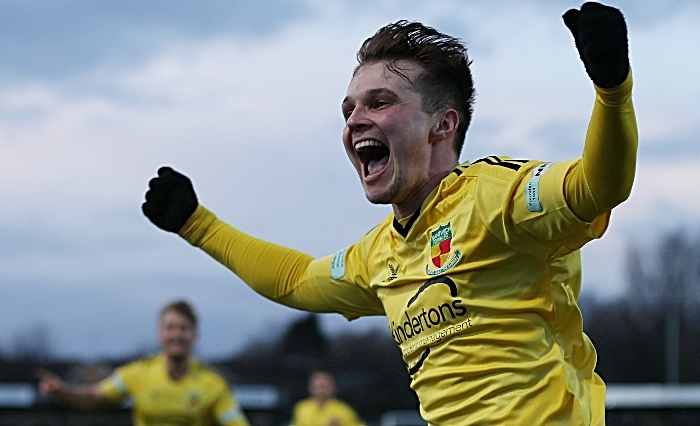 Second-half - second Nantwich Town goal - Sean Cooke celebrates his goal - FC United