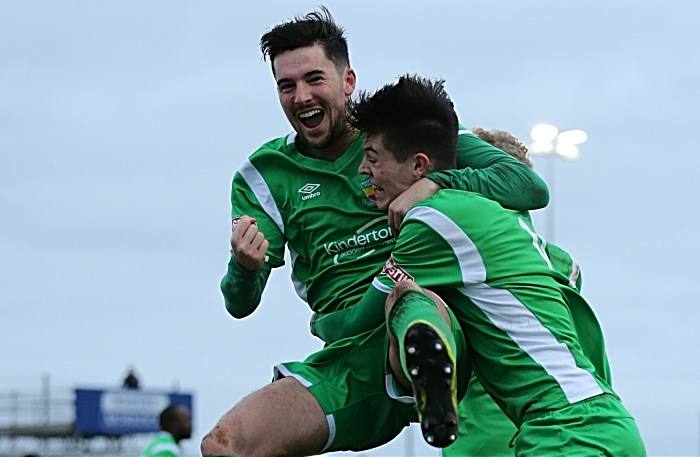 Second-half - second Nantwich goal - Joe Malkin heads home into the bottom corner and celebrates with Callum Saunders (1)