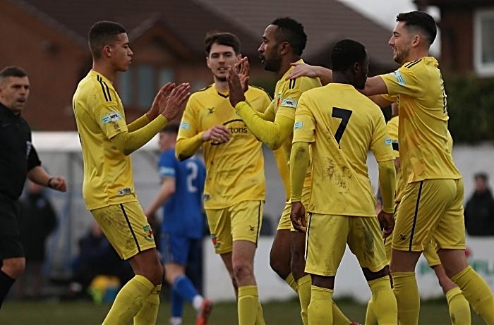 Second-half - second Nantwich goal - Ricardo Fuller celebrates his goal with teammates (1)