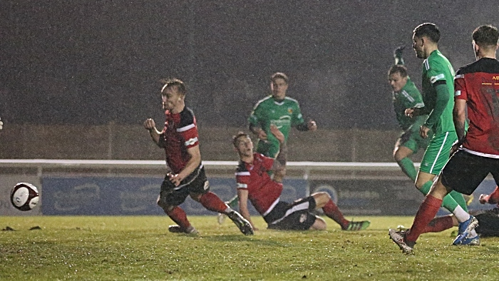 Second-half - second Nantwich goal - Sean Cooke fires it into the bottom corner during stoppage time v Stafford