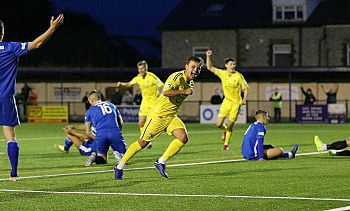 Second-half - second Nantwich goal - Sean Cooke scores and celebrates (1)