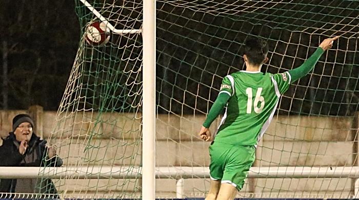 Second-half - second Nantwich goal - substitute Joe Malkin celebrates his goal (1)