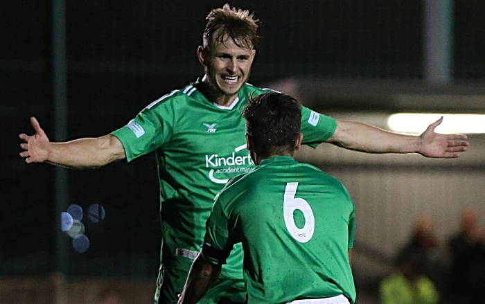 Second-half - third Nantwich Town goal - Caspar Hughes celebrates his goal with David Webb who supplied the cross (1)