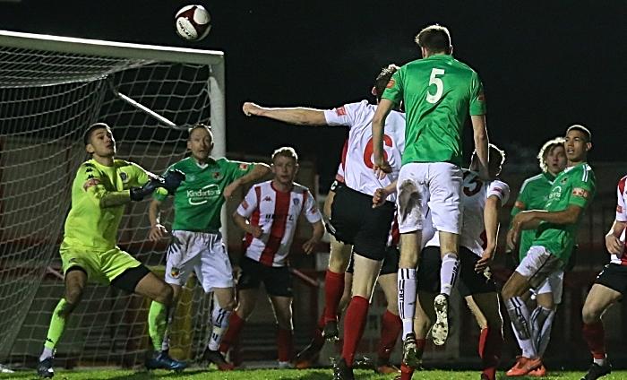 Second-half - third Nantwich goal - Ben Harrison gets up highest to meet a Caspar Hughes corner as he heads home (1)
