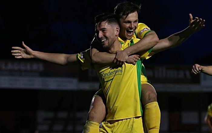 Second-half - third Nantwich goal - Callum Saunders celebrates his goal (1)