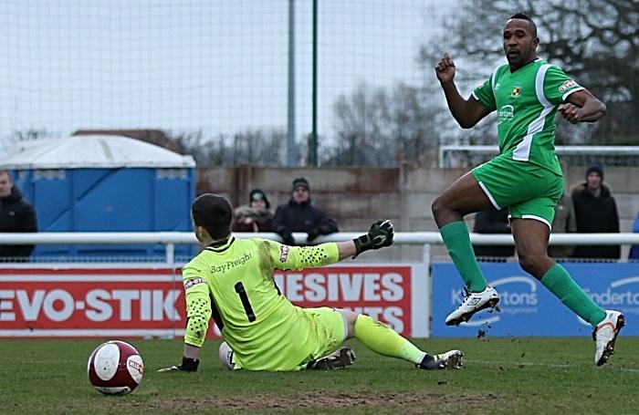 Second-half - third Nantwich goal - debut Nantwich Town goal for Ricardo Fuller