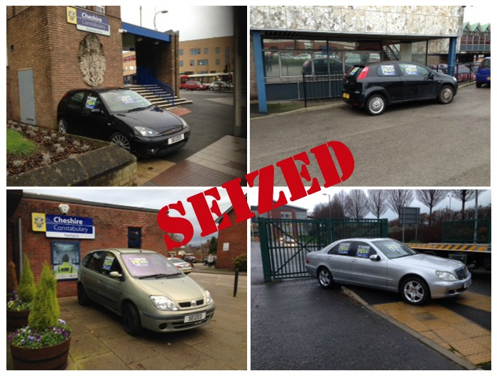 A vehicle seized by police is now on display outside the town's police station on Beam Street.  It's one of a number of cars seized by officers from drivers with no insurance as part of a latest crackdown.