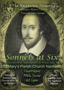Shakespeare finished, Nantwich concert