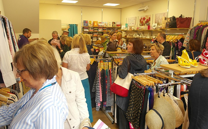 Shoppers in new St Luke's Hospice charity shop in Nantwich