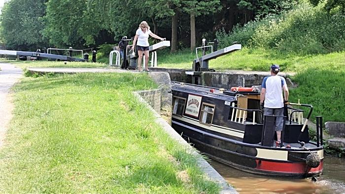 Shropshire Union Canal boat using lock at Audlem (1)