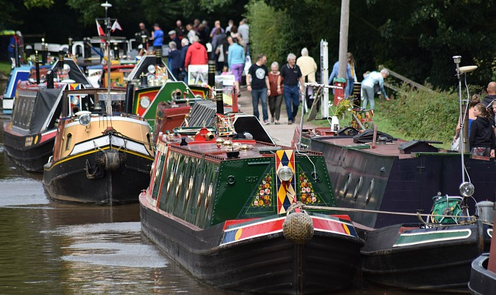 Some of the historic boats on display on canal