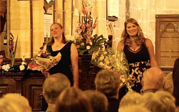 Soprano Jessica Thayer and pianist Sally Birkett take a bow