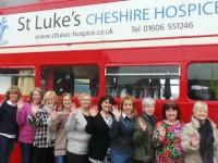 """St Luke's Hospice red bus """"Frock Stop"""" back in Nantwich"""