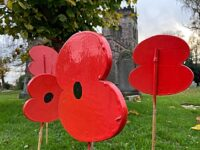 Remembrance visual poppies display at St Mary's Church in Acton