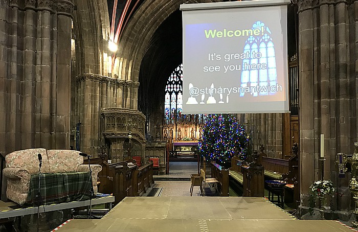 St Mary's Church Nantwich – Crib Service – stage area and screen