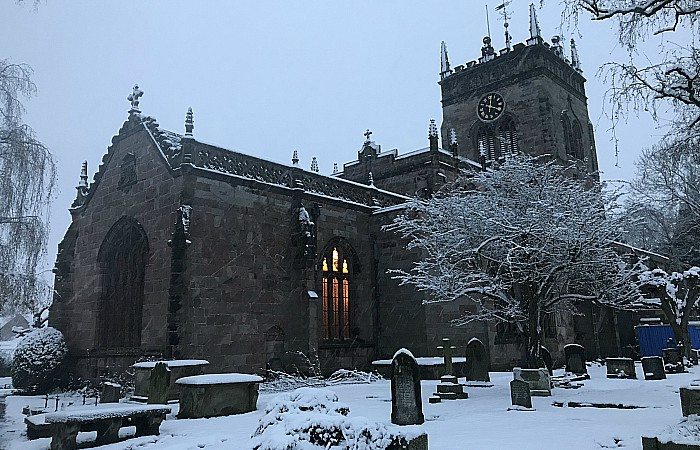 Christmas Tree Festival - St Marys Church in Acton in the snow