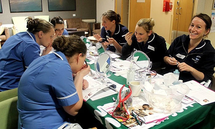 Staff at Leighton Hospital's Macmillan Cancer Unit get pampered during a Look Good Feel Better training session