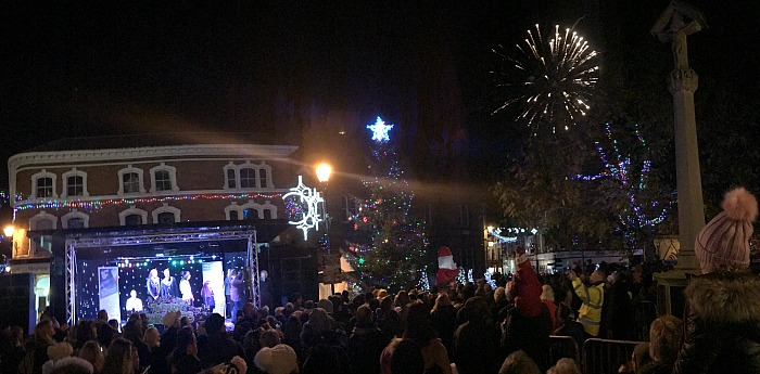 Christmas tree decorations and lights - stage-area-and-fireworks-after-nantwich-christmas-lights-switch-on