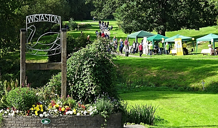 Stalls on the Joey the Swan recreation area adjacent to Wistaston Brook (1)