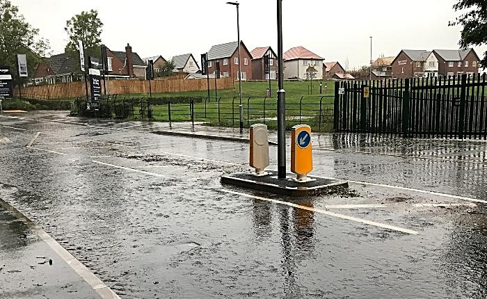 Standing water on Church Lane opposite Bloor Homes Wistaston Brook housing development in Wistaston (1)