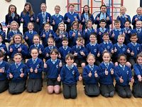 Thumbs up twice for Stapeley Broad Lane School Choir