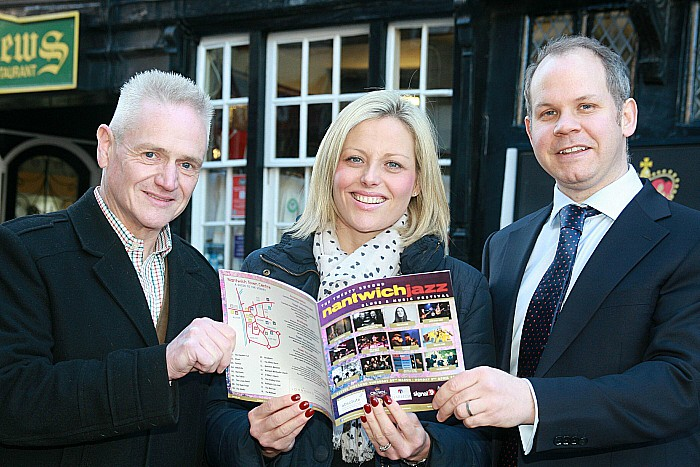 Steve Barnes, Abbigail Ellwood and husband Alex launching Nantwich Jazz, Blues and Music Festival