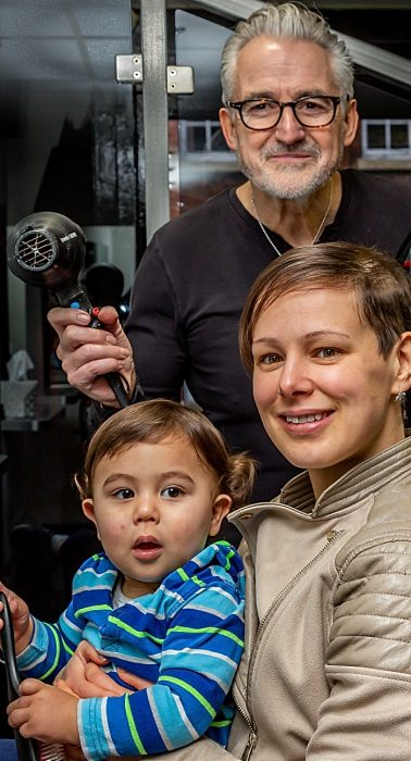 Steve Burgin and Anya with son Isaac - wigs charity story