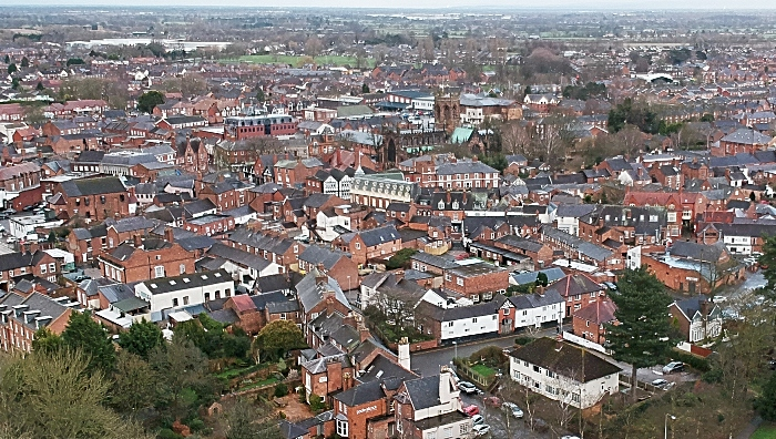 aerial view of Nantwich town centre during lockdown