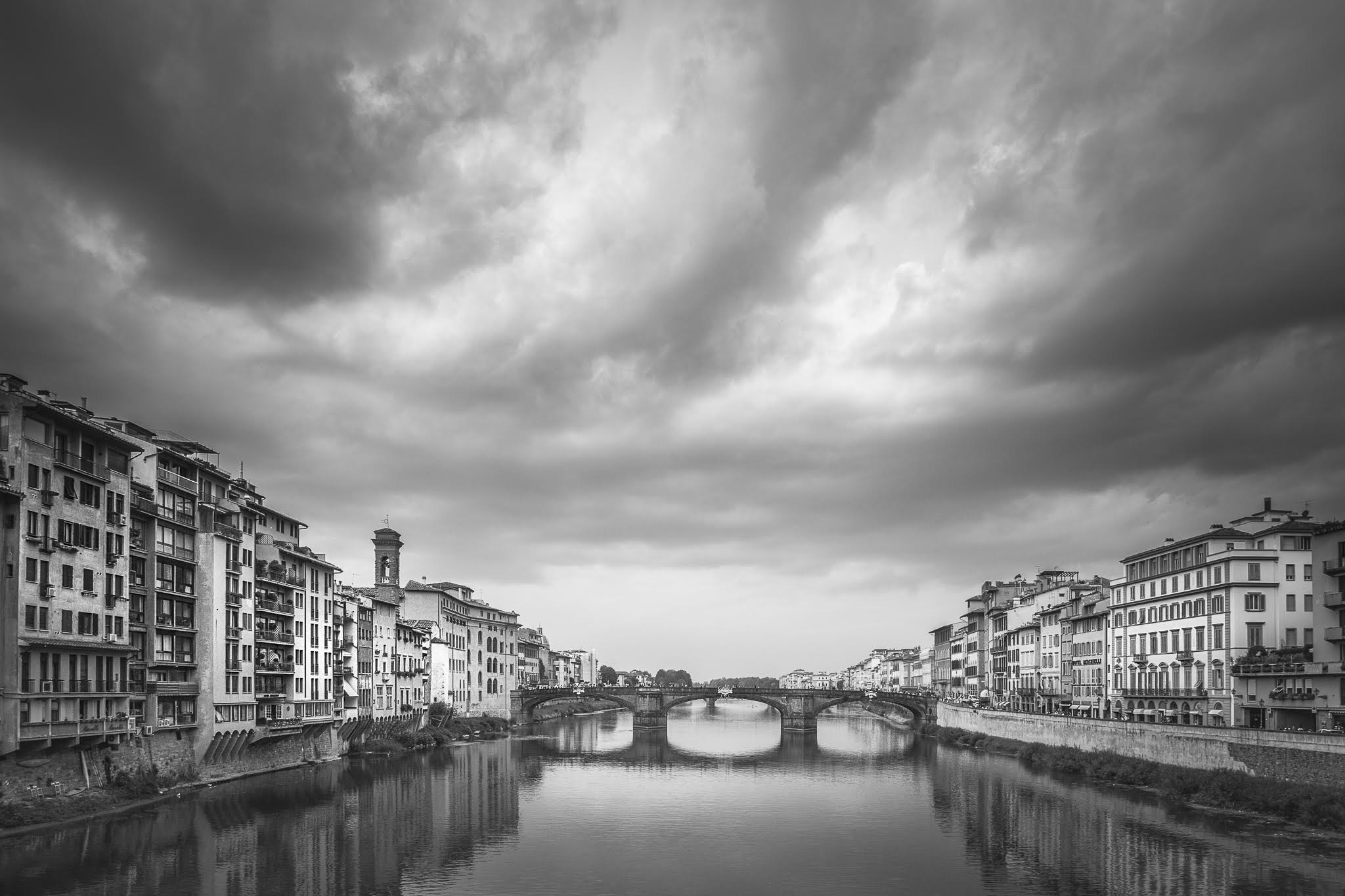 Storm clouds over the River Arno by Robert Gough