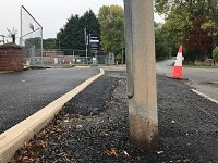 Street light left in middle of busy road in Wistaston
