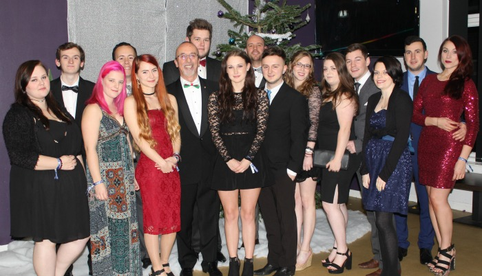 Student Association members, Principal Meredydd David and Assistant Principal Matt Gower at Harry Potter ball