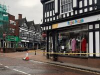 Nantwich town centre road closed after car crashes into shop