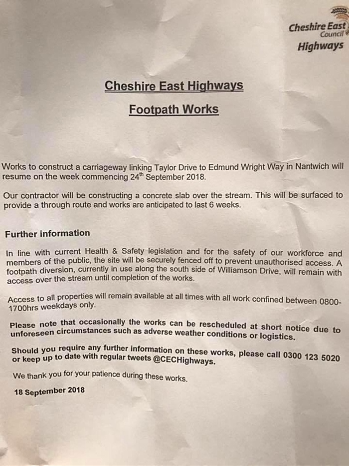 Taylor Drive to Edmund Wright Way letter