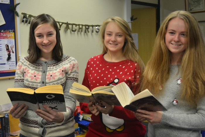 Tegan Berry, Charlotte Williams and Lydia Wilson in their jumpers