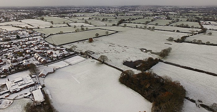 The Eric Swan sports ground in Wistaston and beyond towards Nantwich