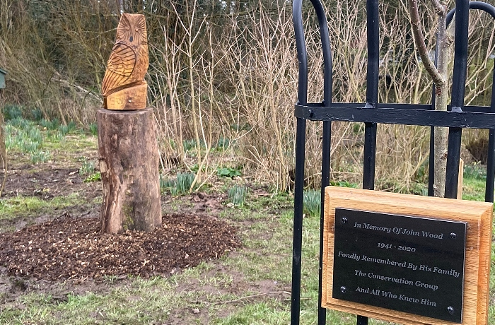 The Rowan tree in memory of John Wood and the adjacent owl sculpture (1)