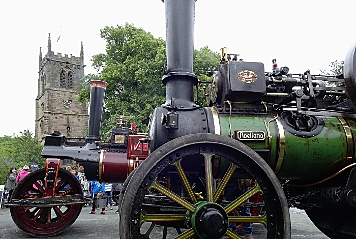 The Swan Inn - display of steam traction engines with Wybunbury Tower in the background (1)