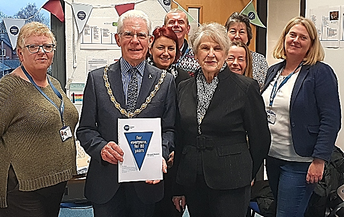 The Worshipful Mayor of Nantwich, his Consort, staff and volunteers gather the Nantwich offices of Citizens Advice Cheshire East to celebrate 80 years of Citizens Advice in Cheshire East (1)